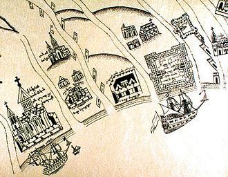 Timote Gabashvili - Detail from a map of Georgian coastal fortifications, by Timote Gabashvili, 1737