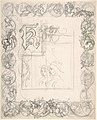 "Title Page Design for ""The Tournament"" (recto); Small Sketches for Border Elements (verso) MET DP801138.jpg"