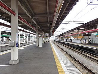 Tochigi Station - The Tobu platforms in June 2011