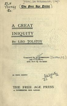 Tolstoy - A Great Iniquity.djvu