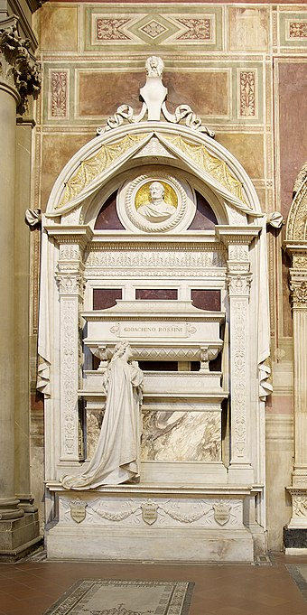 Rossini's final resting place, in the Basilica of Santa Croce, Florence; sculpture by Giuseppe Cassioli (1900) Tomb Rossini Florence.jpg