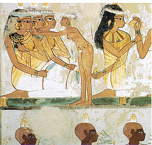 Nakht - Ancient Egyptian women and men wearing kohl, from the tomb of Nakht in Thebes (15th century BC).