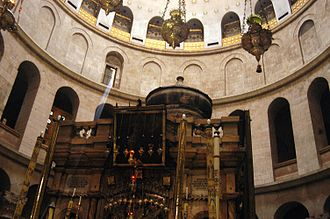 Mark 16 - The Edicule of the Holy Sepulchre (The traditional location of Jesus' tomb) with the dome of the rotunda visible above.