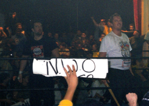 It Ain't Seinfeld - Tommy Dreamer (left) and The Sandman continued their feud with The Dudley Boyz at It Ain't Seinfeld.