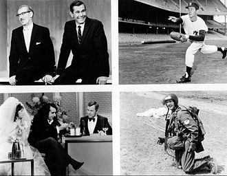 The Tonight Show Starring Johnny Carson - Some memorable moments. Top left: Carson's first show with Groucho, 1962. Top right: Carson practices pitching at Yankee Stadium, 1962. Bottom left: Tiny Tim's wedding, 1969. Bottom right: Carson does a skydiving demonstration, 1968.