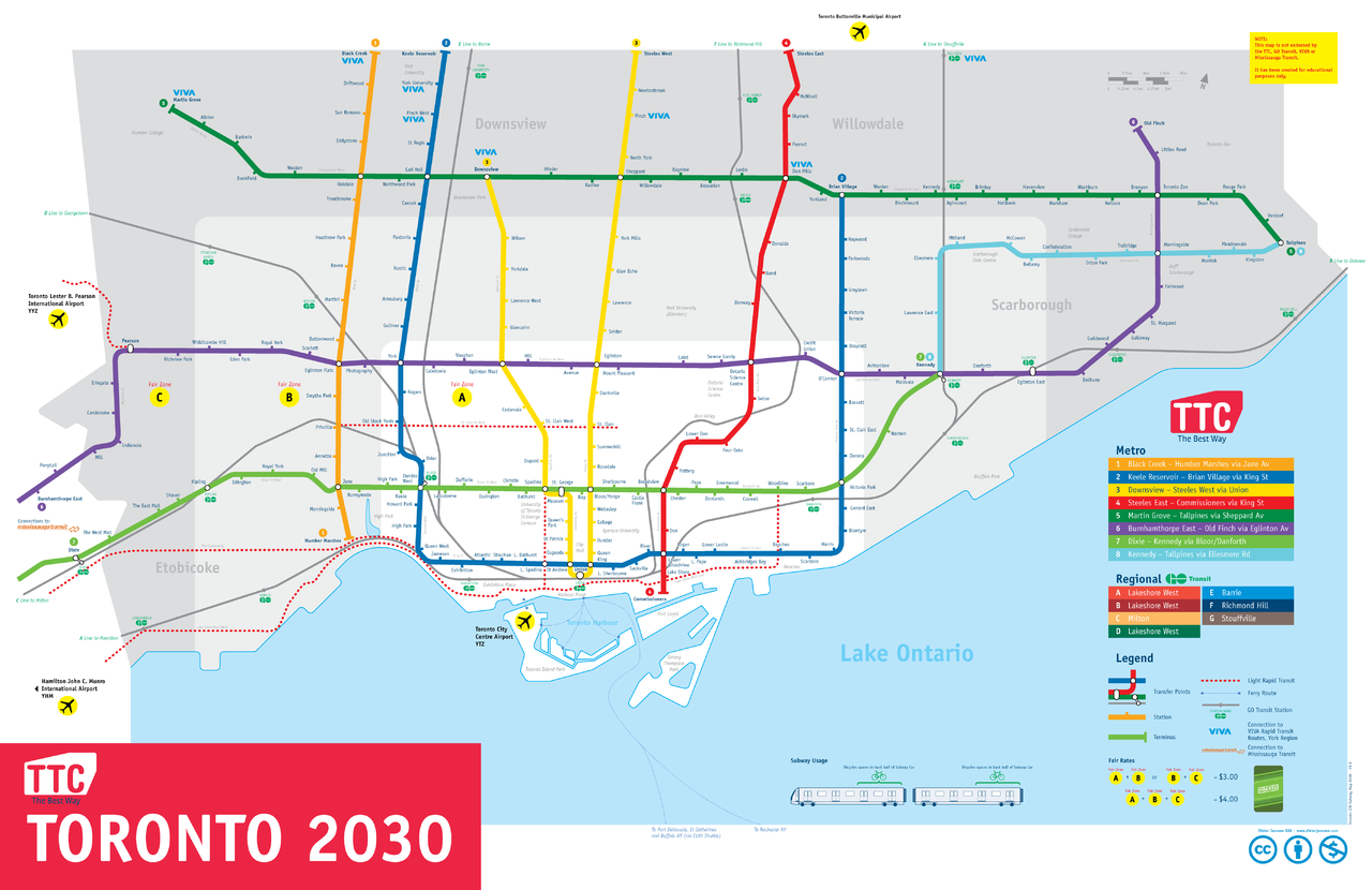 Map Of Ttc Subway System.File Toronto Gta Subway Map 2030 Png Wikimedia Commons