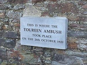 Tooreen ambush - Location - plaque on farm wall 2014