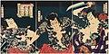 Toyohara Kunichika - The kabuki actors (right to left) Ichimura Kakitsu IV as Asahina Tobei, Nakamura Shikan IV as Washi ... - Google Art Project.jpg