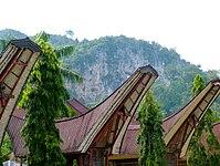 Bagian atap dari rumah tradisional di Sulawesi, Indonesia
