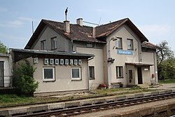 Train station in Krahulov, Třebíč District.jpg