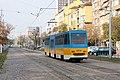 Tram in Sofia near Russian monument 024.jpg