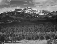"Trees in foreground, snow covered mountain in background, ""Long's Peak from North, Rocky Mountain National Park,"" Colora - NARA - 519969.tif"