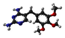 Ball-and-stick model of the trimethoprim molecule