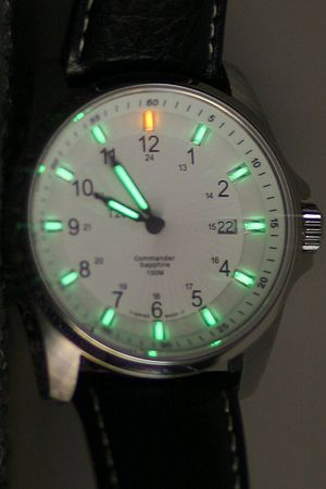 Tritium - Swiss Military Watch Commander model with tritium-illuminated face