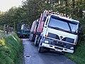 Truck lodged in ditch at Llanddewi Brefi, Ceredigion, Wales.jpg