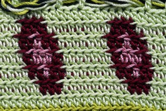 Tapestry crochet - Detail of a bag from Turkey showing half-double crochet stitches done in the back loop. The front loops form a horizontal line across the fabric. The extra color was only carried in the rows where it was needed.