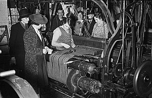 Tweed (cloth) - Tweed making at a mill in Wales, 1940.