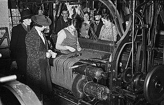 Tweed - Tweed making at a mill in Wales, 1940.