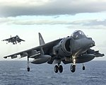 Two Harriers Landing MOD 45149692.jpg