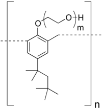 Structural formula of the repeating unit of Tyloxapol