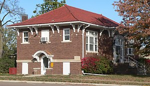 National Register of Historic Places listings in Bon Homme County, South Dakota - Image: Tyndall SD Carnegie library from SW 1