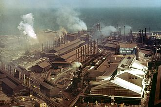 Northern Indiana - U.S. Steel's Gary Works mills in 1973.
