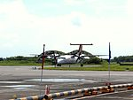 UNI Air B-15225 Rolling into Chiayi Airport Apron 20120811.JPG