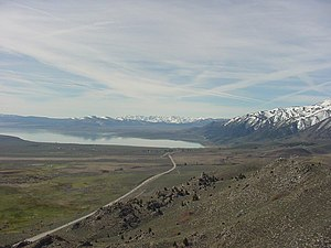 State highways in California - U.S. Route 395 looking south at Mono Lake