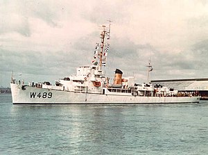 USCGC Durant (WDE-489) in port, circa in 1953