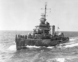 USS Aaron Ward (DD-483) approaching USS Wasp (CV-7) on 17 August 1942, during operations in the Solomon Islands area.