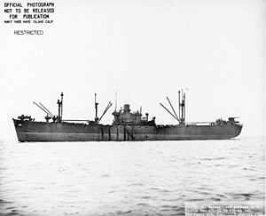USS Cheleb (AK-138) - Broadside view of USS Cheleb (AK-138) off San Francisco, CA., 3 January 1944.