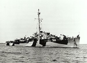 USS Eversole (DE-404) off Boston, Massachusetts (USA), on 20 May 1944