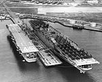 USS Leyte (CV-32) and USS Wright (CVL-49) at Quonset Point c1950.jpg