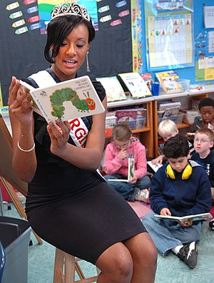 English: Christie Black, Miss Virginia reads t...