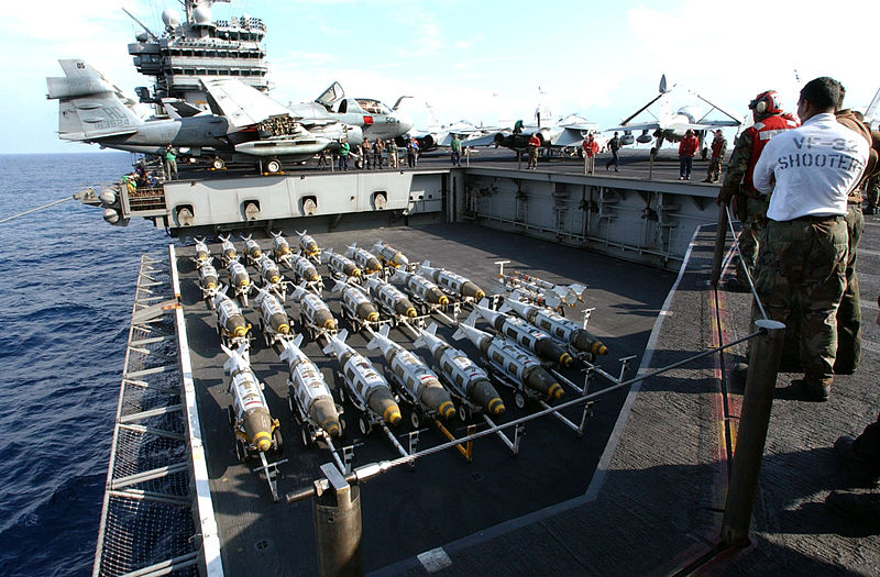 US Navy 030321-N-3235P-510 On the flight deck aboard the aircraft carrier USS Harry S. Truman (CVN-75), 2000 lbs GBU-31 Joint Direct Attack Munitions (JDAM) are transported to the flight deck.jpg