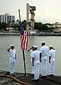US Navy 030911-N-0879R-001 Hawaii-based Sailors assigned to the attack submarine USS Chicago (SSN 721) observe morning colors at half-mast on Sept. 11, 2003, with a flag sent from the New York City Fire Department.jpg