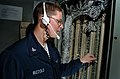 US Navy 040611-N-6213R-200 Interior Communications Electrician 3rd Class Santo Rizzolo, from Solider Grove, Wis., tests phone lines.jpg