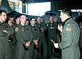 US Navy 050310-N-3770P-001 Commanding Officer, Patrol Squadron one (VP-1), Cmdr. Leon Bacon discusses plans for the squadrons next deployment at an all hands call on board Naval Air Station Whidbey Island, Wash.jpg