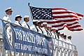 US Navy 050730-N-3672K-383 Sailors assigned to the Navy's newest Arleigh Burke-class destroyer, USS Halsey (DDG 96) stand at parade rest as the ship is commissioned.jpg