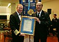 US Navy 081126-N-6138K-567 Prince Sergio of Yugoslavia presents Adm. Mark Fitzgerald, Commander, U.S. Naval Forces Europe and Commander, Joint Forces Command, Naples, with the International Peace Award from the International A.jpg