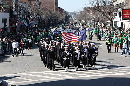 U.S. Navy sailors march in Boston's annual St. Patrick's Day Parade. Irish Americans constitute the largest ethnicity in Boston. US Navy 090315-N-8110K-011 A crowd along a parade route in South Boston cheers Sailors from the guided-missile frigate USS Taylor (FFG 50) as they march in the 108th Annual St. Patrick's Day Parade.jpg
