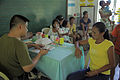 US Navy 090420-A-0759M-042 Armed Forces of the Philippines Capt. Walter Mortero examines a woman at Umiray Elementary School during a joint medical civic action project in support of Balikatan 2009 in Dingalan.jpg