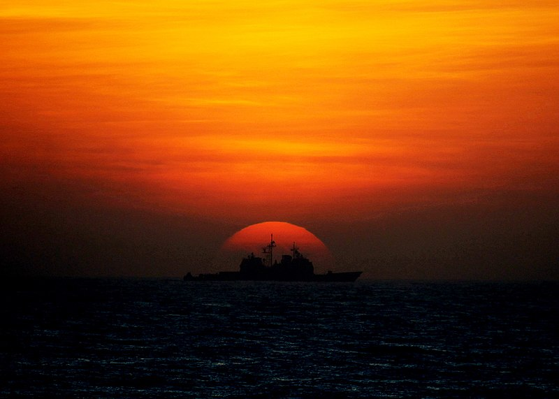 File:US Navy 100127-N-2760T-001 The Ticondera-class guided-missile cruiser USS Shiloh (CG 67) transits the South China Sea at sunset during Spring Patrol.jpg