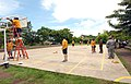 US Navy 100610-N-4971L-252 Sailors and Marines deployed aboard Swift (HSV 2) refurbish a basketball court during a community service project in Corinto, Nicaragua.jpg