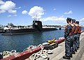US Navy 100621-N-3560G-002 Line handlers stand by on the pier as Mochishio (SS 600) arrives at Joint Base Pearl Harbor-Hickam, Hawaii, for RIMPAC 2010.jpg