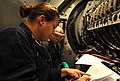 US Navy 101023-N-6632S-146 Gas Turbine System Technicians (Mechanical) 2nd Class Amanda L. Black, left, and Samuel E. Williams perform maintenance.jpg
