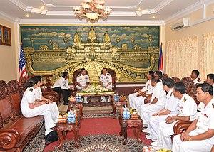 Royal Cambodian Navy - USS Mustin visits Cambodian Navy.