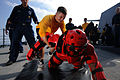 US Navy 111029-N-YZ751-065 Fire Controlman 3rd Class Joel D. McPherson participates in security training aboard the guided-missile destroyer USS Tr.jpg