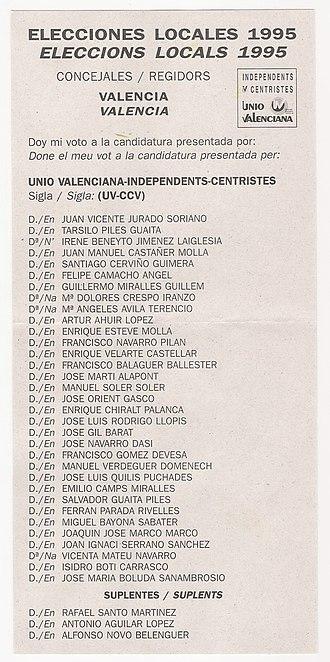 Valencian Union - UV ballot paper.
