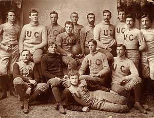 1892 Chicago Maroons football team - Stagg in center holding ball